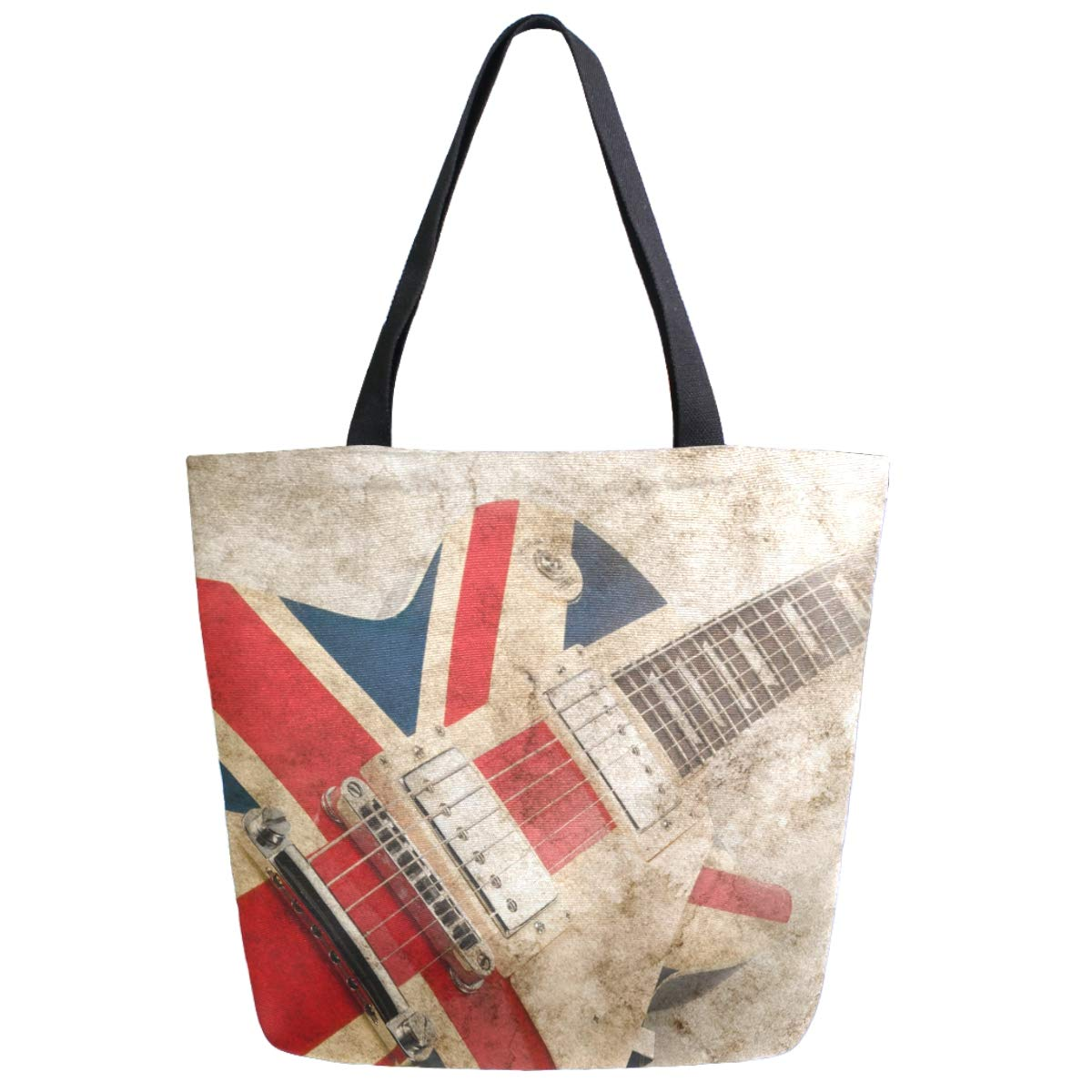 ZzWwR Stylish Grunge British Pop Guitar Print Extra Large Canvas Beach Travel Reusable Grocery Shopping Tote Bag for Women Girls