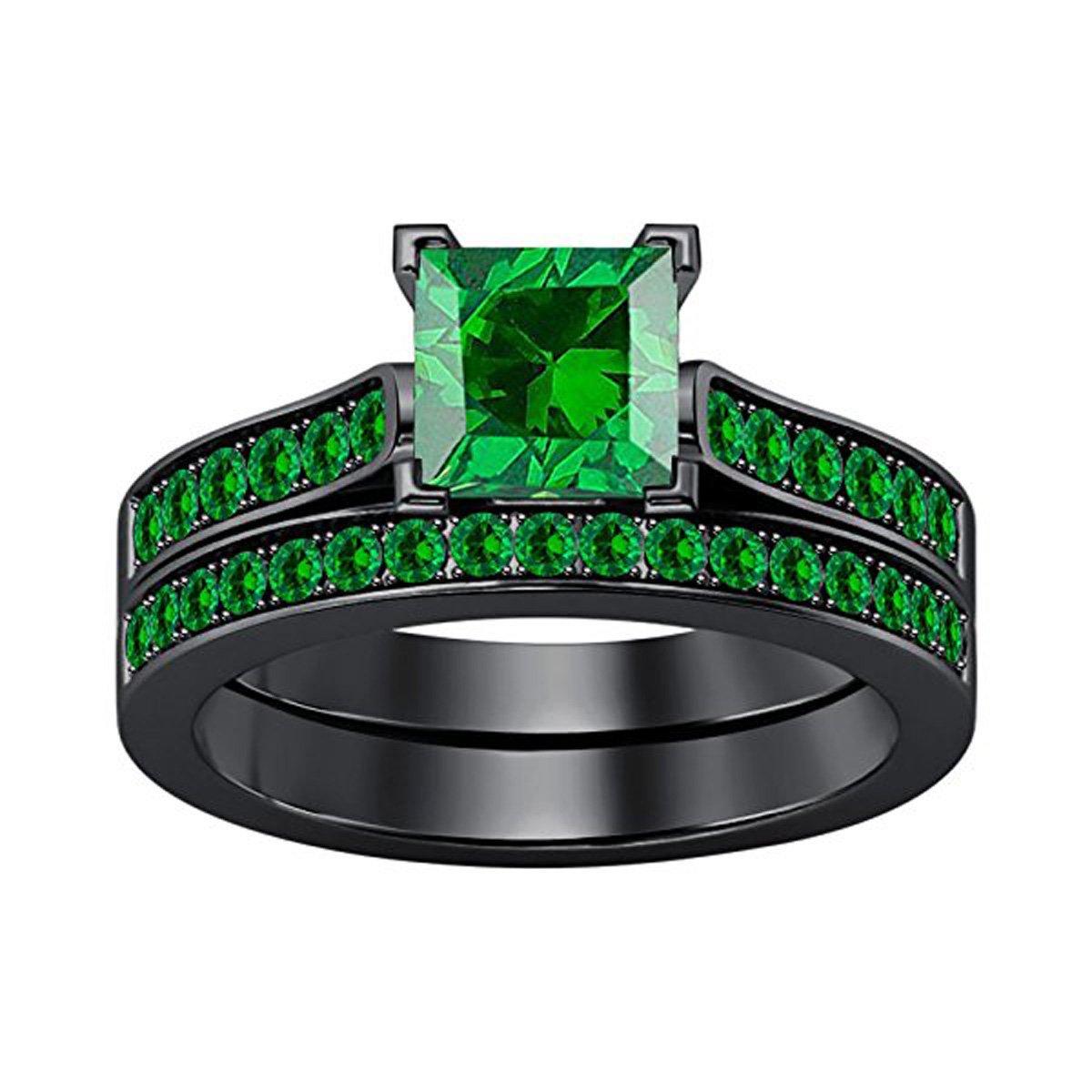 2.75 Ct Princess Cut Green Emerald Wedding Band Engagement Bridal Ring Set 14K Black Gold Plated