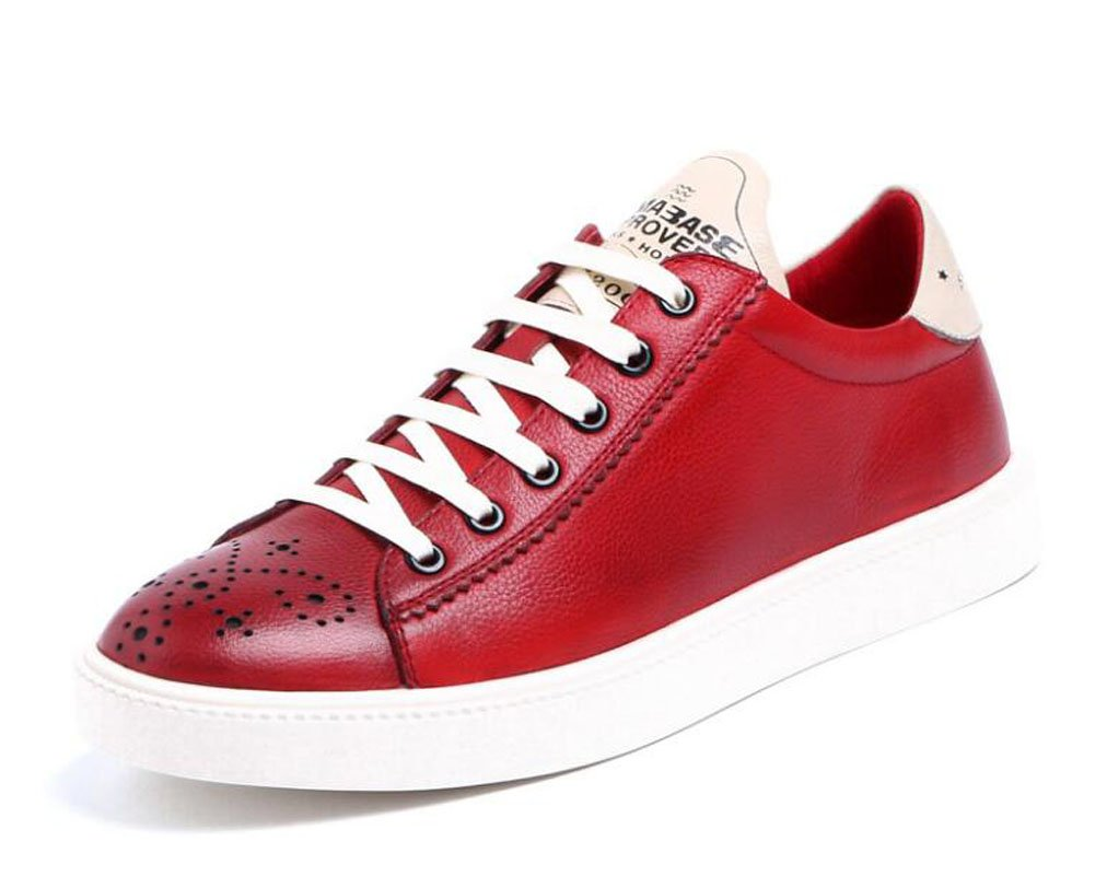 GLSHI Uomo Oxfords Lace-Up Pattini Scarpe Sportive Sportive Sportive Pelle Leather Trend Pelle Donna Respirabile Uomo ( Coloree   rosso , Dimensione   44 ) B0744N4XJW 44 rosso | Up-to-date Stile