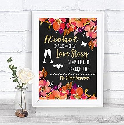 Cartel de boda personalizado con diseño de barra de alcohol ...