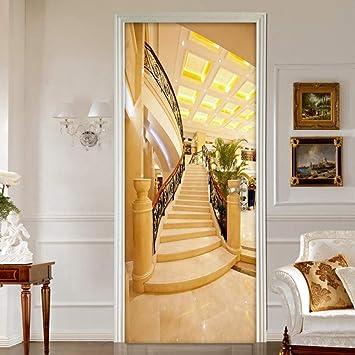 3D Puerta Mural De Vinilo Para Escalera De Oro Diy Autoadhesivo Puerta Mural Etiqueta Art Decals Papel Tapiz De Dormitorio Calcomanía De La Puerta De La Casa 95 * 215Cm: Amazon.es: Bricolaje