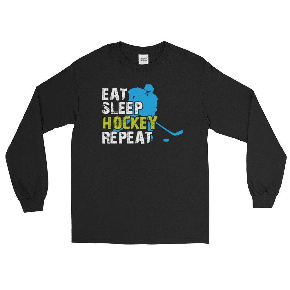 edgyshop Eat Sleep Hockey repeat Long Sleeve T-Shirt