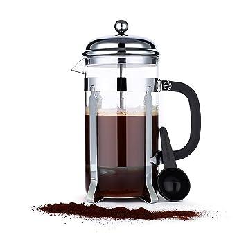 Cafetera prensa, iCoco 1L resistente al calor cristal double-screen Filtro de acero inoxidable cafetera eléctrica café y té prensa Pot para 8 tazas: ...