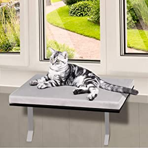 Topmart Pet Cat Window Seat Wall Mount Perch House Pets Furniture Saving Space All Around 360° Sunbath for Cats,Durable Steady Cat Shelf for Kitten