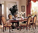 7pc Formal Dining Table & Chairs Set Cherry & Brown Finish