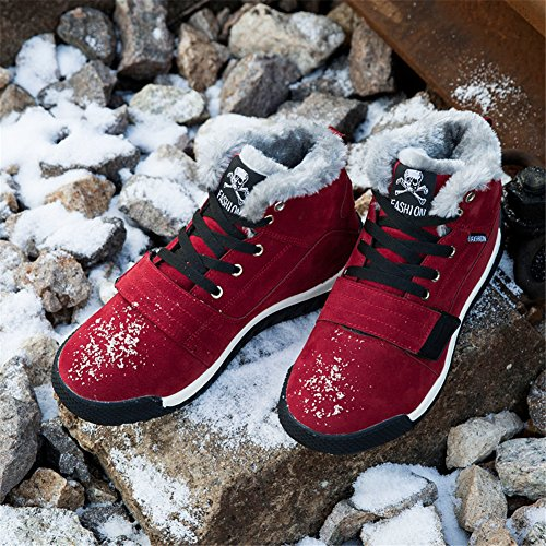 Boot Red Up Ankle Leather Shoes Men's Sneakers Lace Top Lined Snow BERTERI Fur High Warm Suede nXgSSwZ