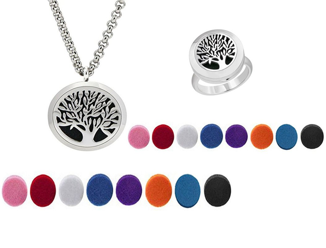 FLYMEI Tree of Life Aromatherapy Essential Oil Diffuser Necklace Locket Pendant and Locket (20mm) Ring with 16 Washable Pads - Hypo-allergenic 316L Surgical Stainless Steel Jewelry Gift Set