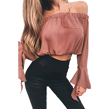 3cd2f955a0f Image Unavailable. Image not available for. Colour: Frill Sleeve Bardot  Crop Top ...