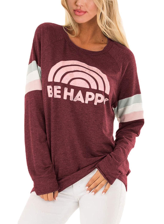 AlvaQ Women Casual Crewneck Colorblock Varsity Stripe Sweatshirt Tops AQ251468