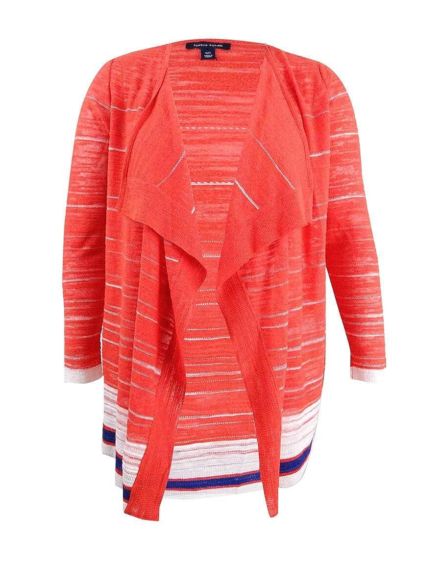 Tommy Hilfiger Womens Striped Flyaway Cardigan