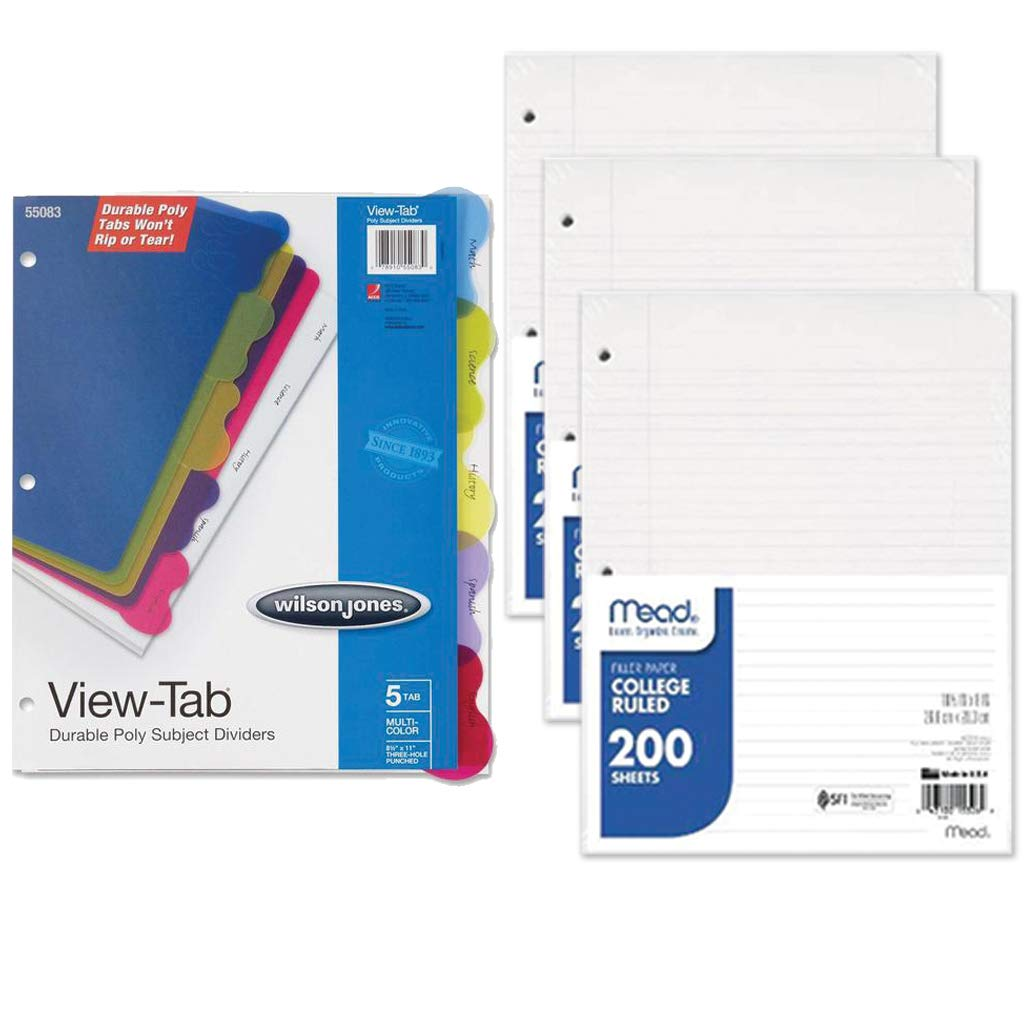 School Supplies: 3 Pack Filler Paper and Binder Divider Bundle
