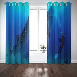EMMTEEY 52X84 Curtains 2 Panels Huge Fish Whale Shark in The Sea Window Curtain Panels for Living Room Bedroom Décor