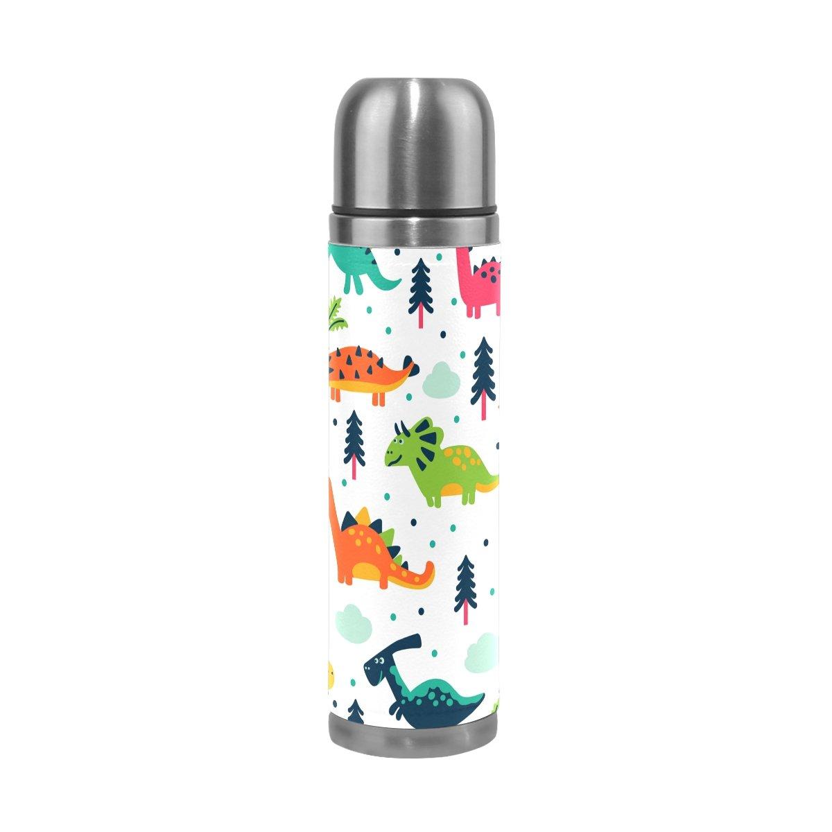 jstel – dinosaurios dibujos animados aislado al agua vacío botella de agua al de acero inoxidable a prueba de fugas botella de doble vacío para café caliente o frío taza de té + bebida Top 500 ml 7c9b91