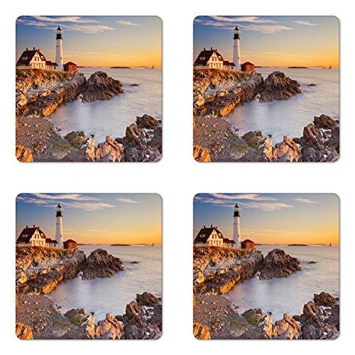 Ambesonne United States Coaster Set of Four, Cape Elizabeth Maine River Portland Lighthouse Sunrise USA Coast Scenery, Square Hardboard Gloss Coasters for Drinks, Pale Blue Tan ()