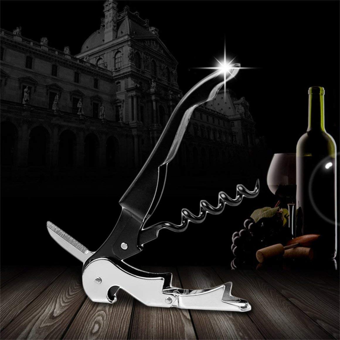 Funnyrunstore Professional Tire-Bouchon en Acier Inoxydable avec Tire-Bouchon Ouvre-Bouchon de Bouteille de vin Multifonction avec poign/ée en Plastique Noir