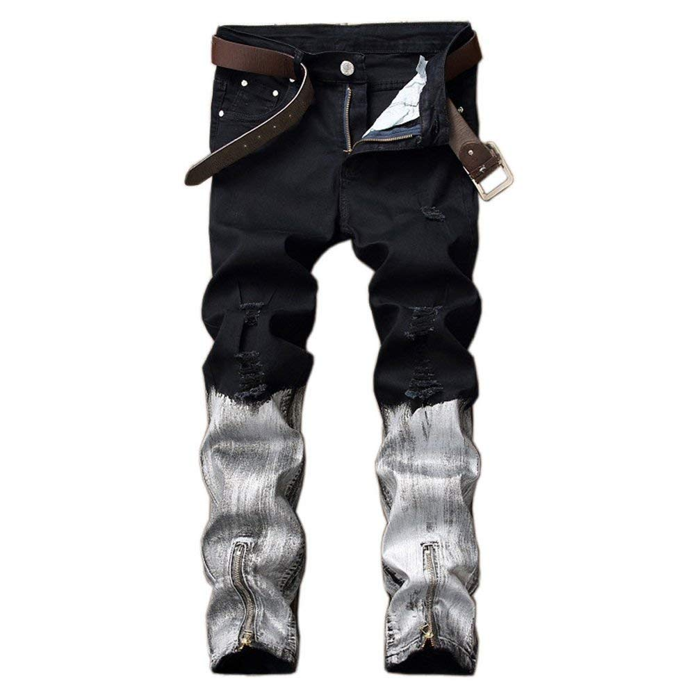 COLOV Mens Stretch Biker Ripped Jeans with Zipper Straight Fit Denim Pants Two Tone Jeans
