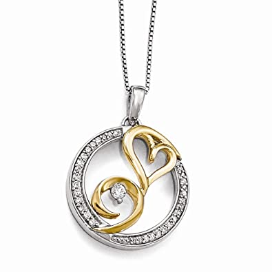 c87a18a9711e8 Amazon.com: Arms of Love Round Diamond Necklace in Sterling Silver ...