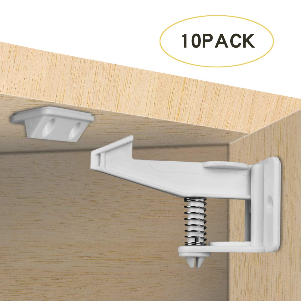 Child Safety Cupboard Locks, 10 Pack Unlocked and Invisible Design, DA HENG Baby Cabinet Locks No Tools or Drilling Needed for Cabinets Kitchen and Drawers Latches