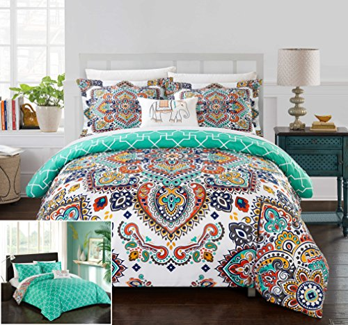 Chic Home 4 Piece Maddox Reversible Boho-inspired print and contemporary geometric patterned technique Queen Duvet Cover Set Aqua