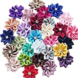 DANDAN DIY Upick More Than 26 Colors 40PCS Satin Ribbon Flowers Bows Rose w/ Rhinestone Appliques Craft Wedding Dec (Multi-color)