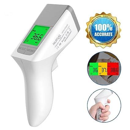 Termómetro médico sin contacto para la frente de modo dual Lectura inmediata y exacta de tecnología de detección arterial con alertas coloridas y ...