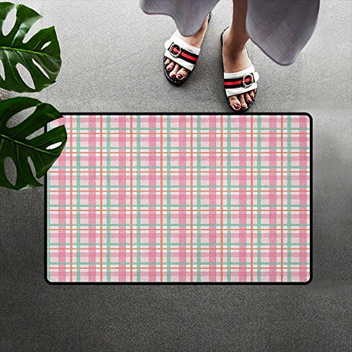 alilihome Microfiber Absorbent Bath Mat Decorative Floor Mat W16 x L24 INCH Abstract,Pastel Colored Checkered Tartan Pattern with Geometric Stripes Print, Mint Salmon Pale Pink ()