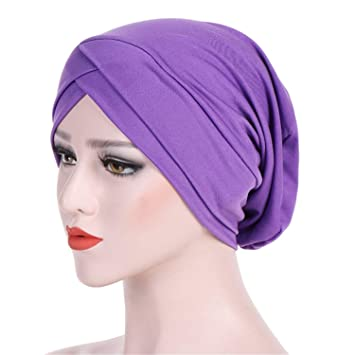 f1eb6a57500 Simple Muslim Cross Scarf Inner Hijab Cap Islamic Head Wear Hat Headband  Turban Head Scarf PP