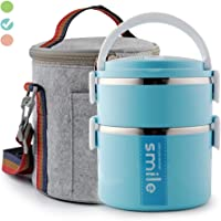 Themral Lunch Box, Arderlive Stackable Insulated Stainless Steel Lunch Container With Portable Lunch Bag, Large Capacity with microwarable container & spoon. (2 tier,blue)