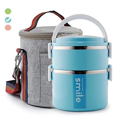 e24033f4828f Themral Lunch Box, Arderlive Stackable Insulated Stainless Steel Lunch  Container With Portable Lunch Bag, Large Capacity with microwarable  container & ...
