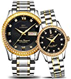 Couple Automatic Mechanical Watch Men and Women Waterproof Watches Two Tone for Her or His Gift Set 2 (Gold Black)
