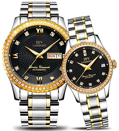 Couple Automatic Mechanical Watch Men and Women Waterproof Watches Two Tone for Her or His Gift Set 2 (Gold Black) by MASTOP
