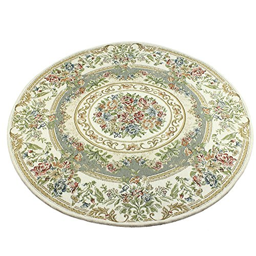 KEPSWET Vintage Floral Round Area Rug Traditional Polyester Circle Shape Rug for Living Room Bedroom Decor (3.3ft (Floral Polyester Rug)