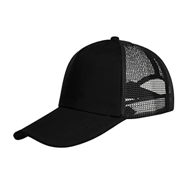 MTTROLI Unisex Baseball Hat Adjustable Outdoor Sun Hat Net Cap Breathable Sports  Hats (Black) 517f30cfec8