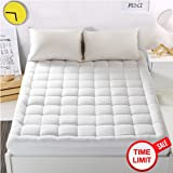 "WARM HARBOR Mattress Pad Cover with 18"" Deep Pocket Overfilled 300TC Cotton White Bed Topper By WarmHarbor Mattress Topper (Down Alternative, Queen)"