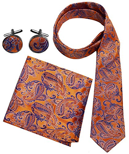 Peach Couture Men's Paisley Boho Style Necktie Cufflinks Pocket Square Handkerchief Set (Orange/Purple)