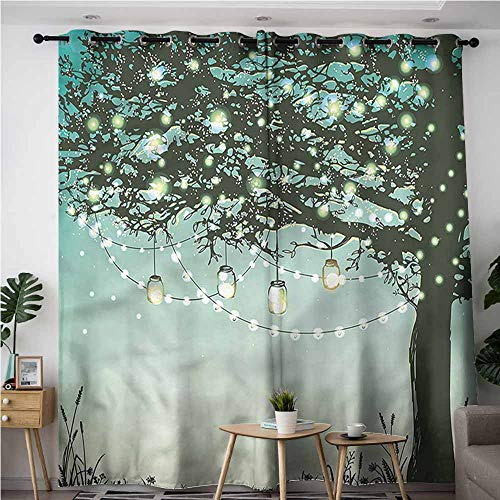 (XXANS Extra Wide Patio Door Curtain,Magical,Tree Ornamented Lantern Sky,Grommet Curtains for Bedroom,W120x96L)