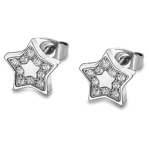 Lotus Style Pendientes para mujer de acero inoxidable plata ...