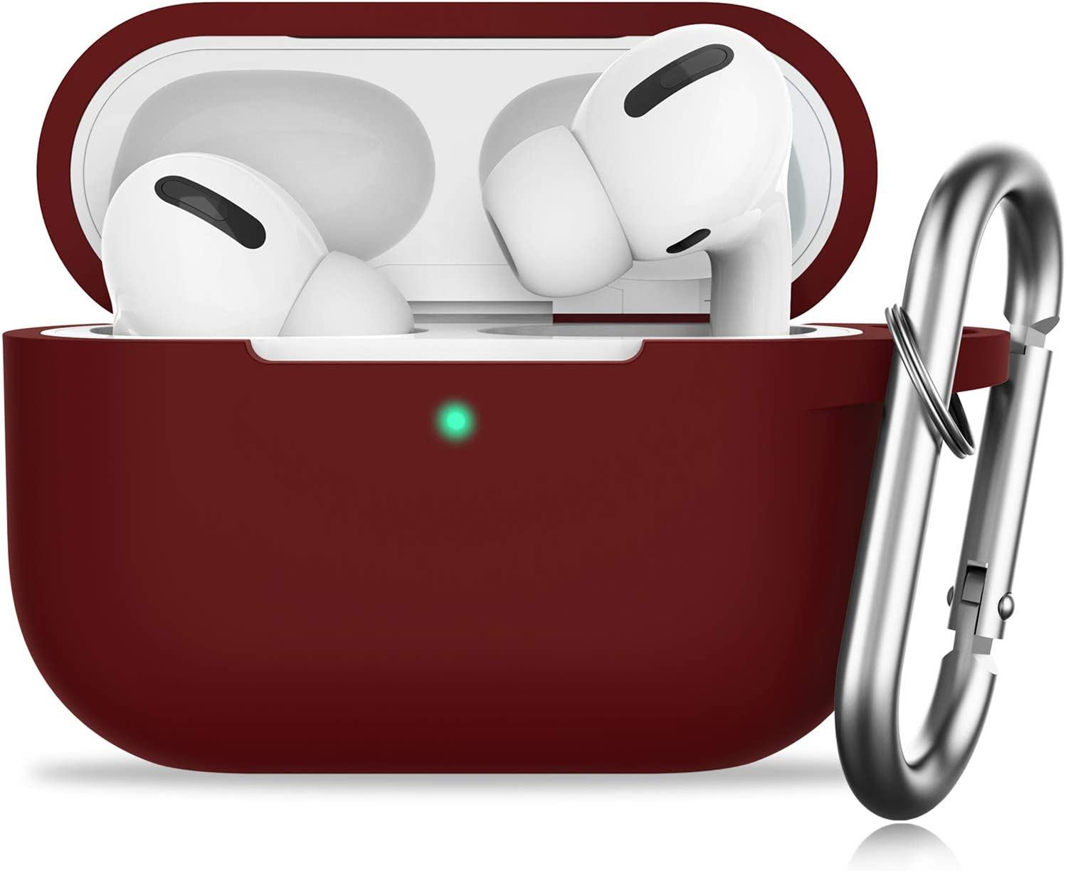 GMUDA for AirPods Pro Case,Protective Silicone Cover with Keychain, Compatible with Apple AirPods Pro, Front LED Visible (Burgundy)
