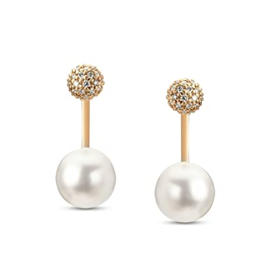 c72525b728af4 Buy Mia by Tanishq 14KT Rose Gold, Diamond and Pearl Hoop Earrings ...