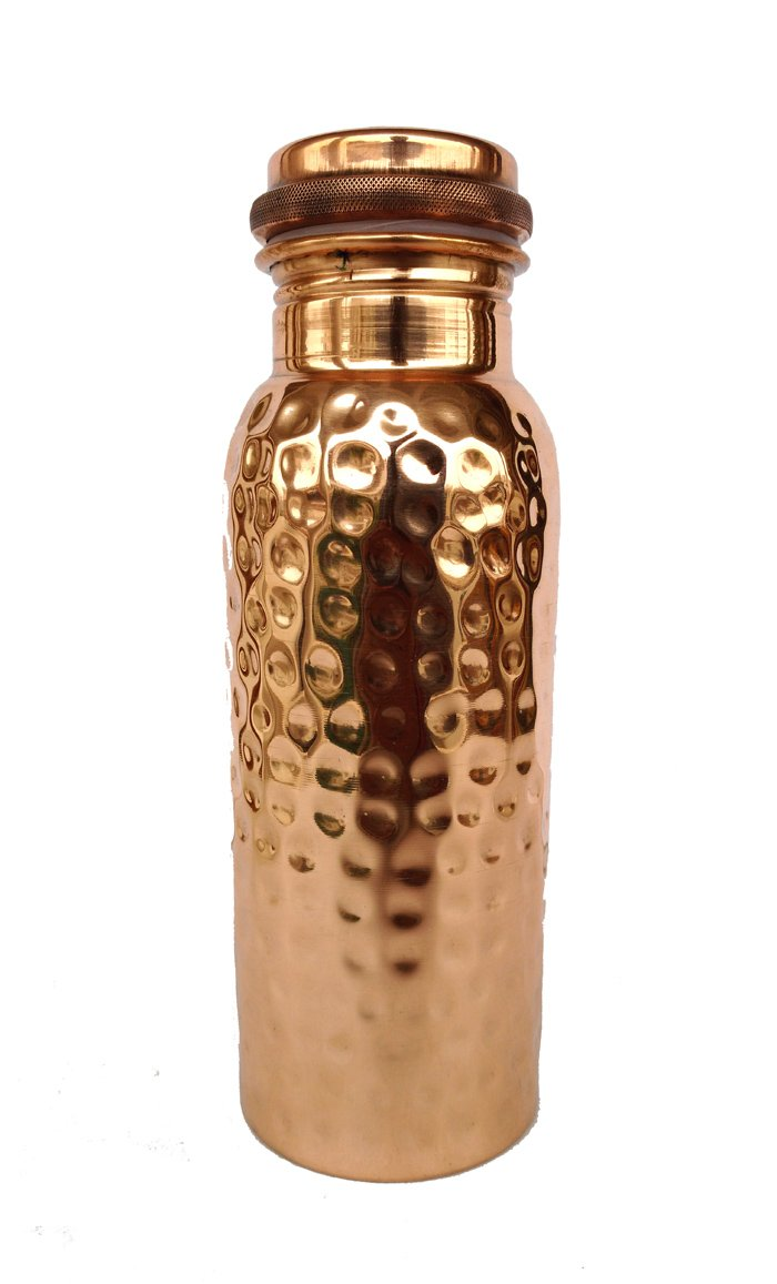 Rastogi Handicrafts Cute Design Pure Copper Joint Less Water Bottle Plain And Hand Hammered Ayurveda Health Benefit 550 ML Strait plain