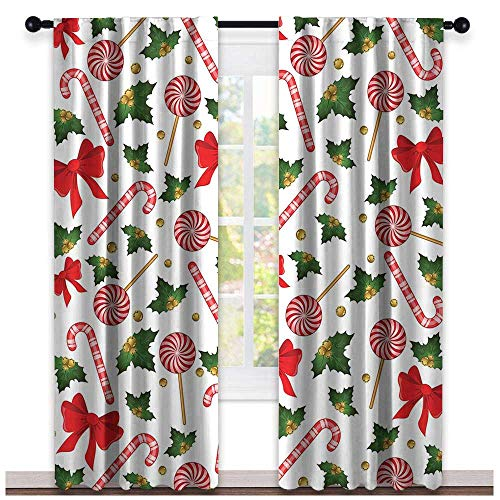 - hengshu Candy Cane, Curtains Blackout 2 Panels, Holly Berry Mistletoe Traditional Red and White Patterned Sugary Food on Sticks, Curtains Nursery, W72 x L108 Inch Multicolor