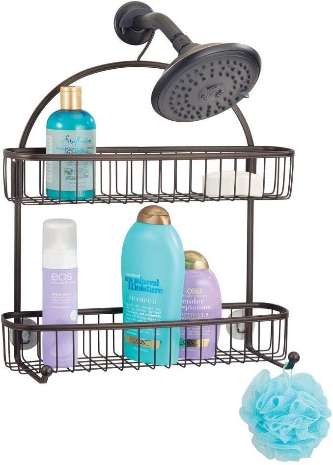 mDesign Estantería de ducha para colgar – Prácticos estantes para ducha sin taladro – Baldas para baño con 1 gran cesta de ducha, 1 cesta más pequeña y 2 ganchos de metal – bronce: Amazon.es: Hogar