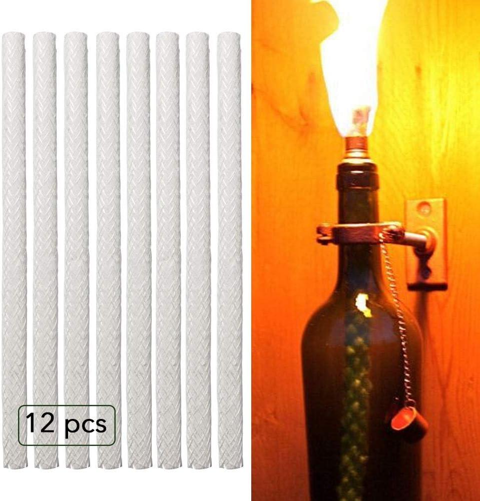 12Pcs//Set Aeloa Fiberglass Wick Long Life Fiberglass Replacement Wicks for Wine Bottle Tiki Torches or Patio Lighting and Garden Light