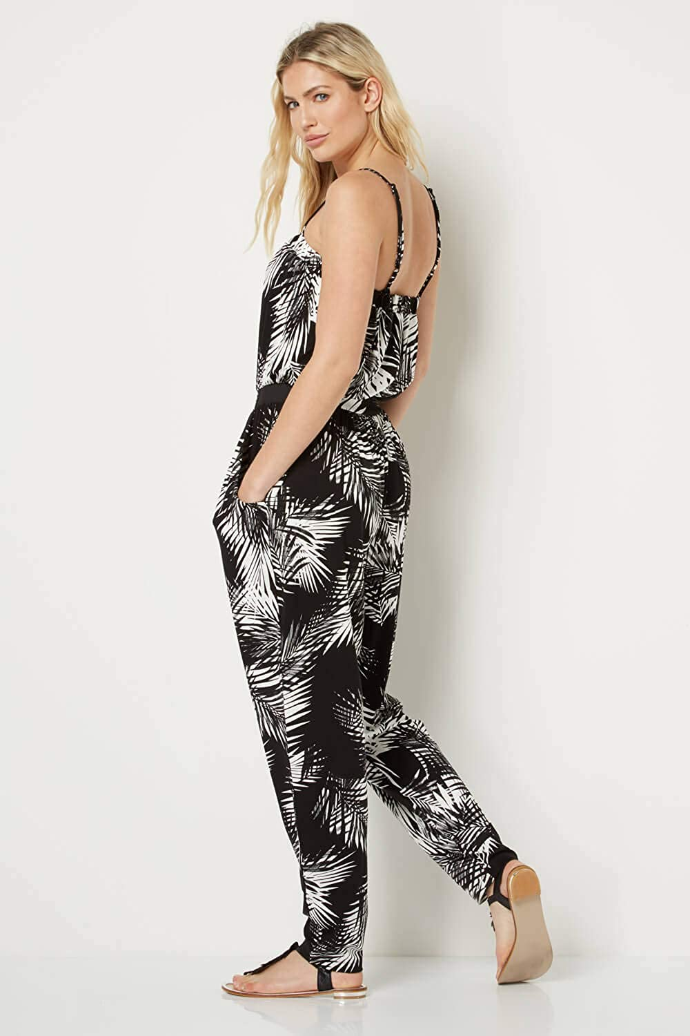 Ladies Jumpsuits for Summer Holiday Casual Daytime Party Going Out Roman Originals Women Tropical Floral Monochrome Jumpsuit