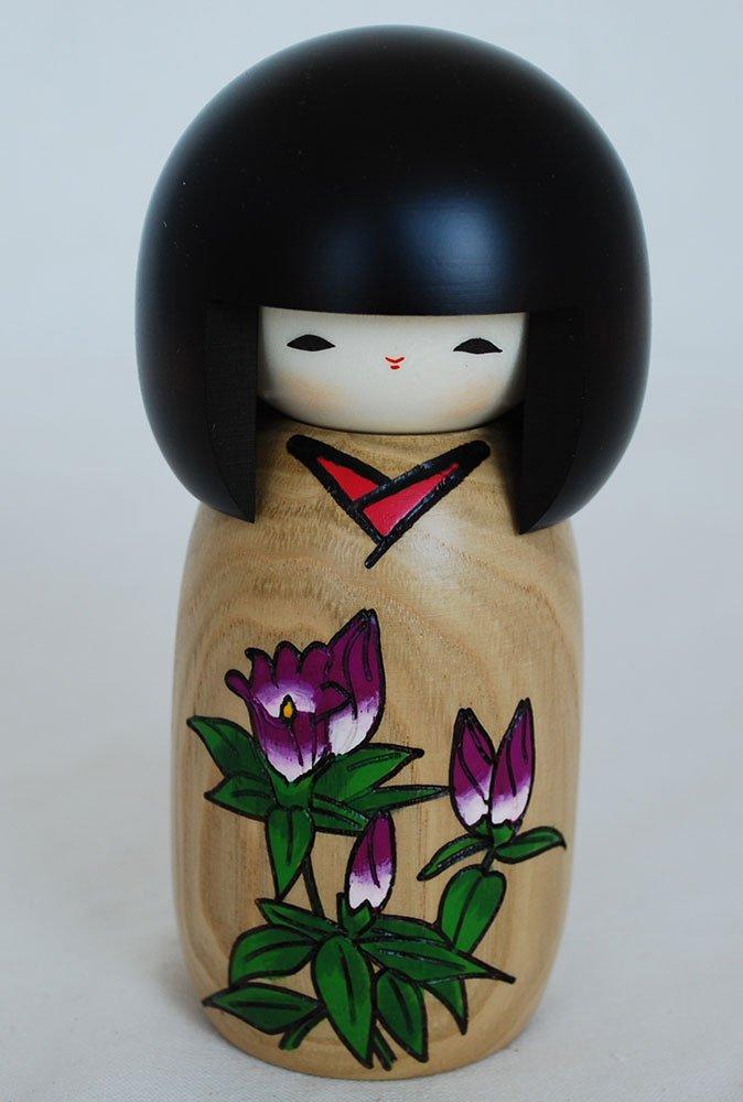 giapponese Kokeshi Doll–Handmade in Japan–Hanamonogatari Rindoh–fiore favola–genziana Oriental Direct Ltd