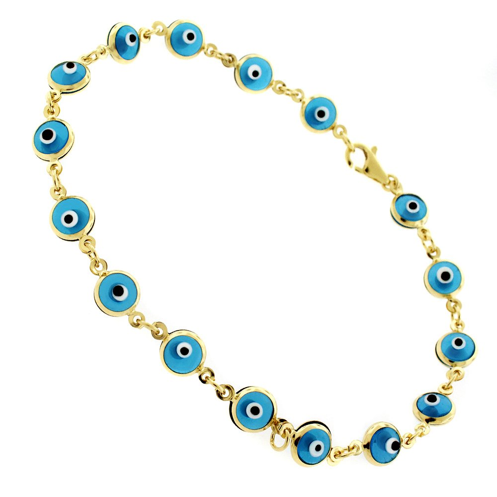 14k Yellow Gold Womens 5.5mm Baby Blue Evil Eye Bead Good Luck Charm Bracelet Chain 7.5'' by In Style Designz