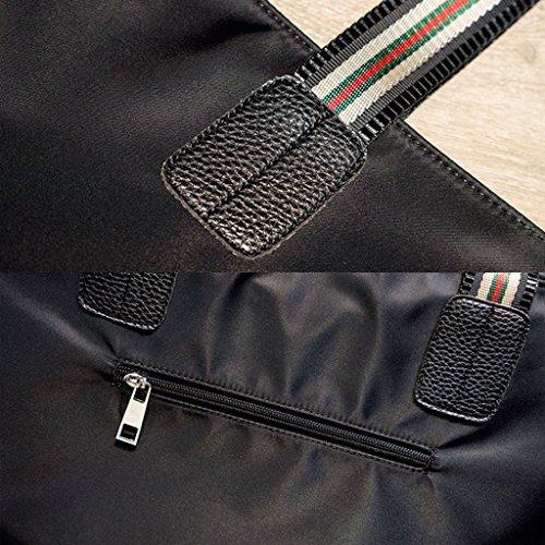 lona de gran la hombro cuero asas Bolso de de Bolso la de de de Black simple Color de PU capacidad nylon la de impermeable bolsa Black qPP0wax7
