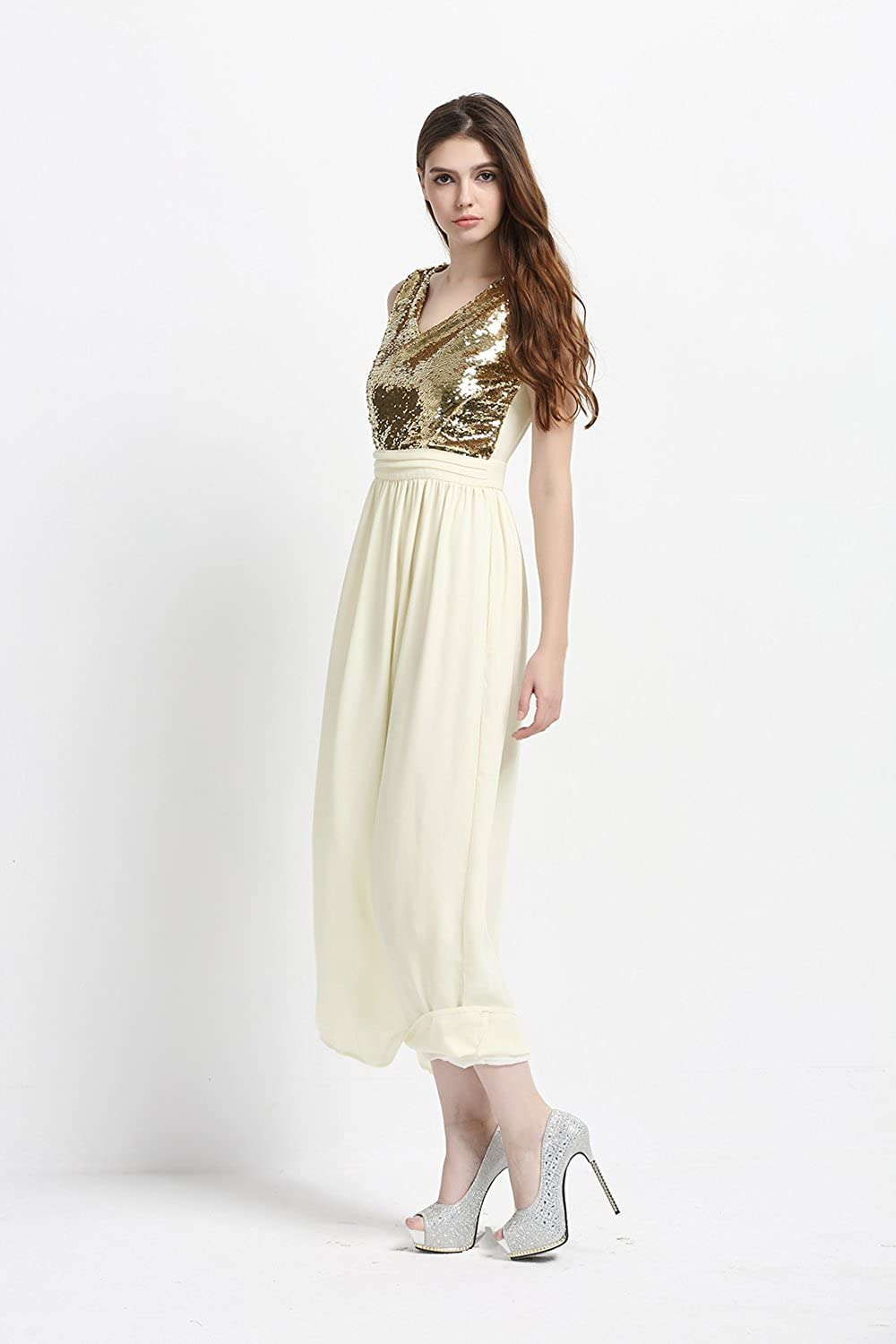 RichcocoClassic Womens Sequined Evening Dress