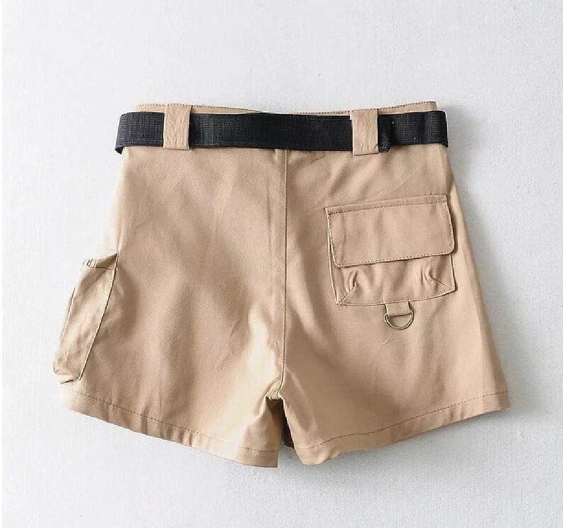 Comaba Womens Belt Palazzo Lounge Pants Pure Color Walking Linen Shorts