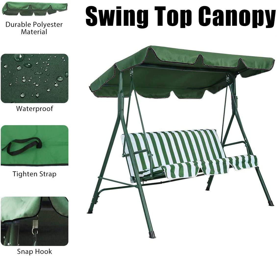LUCKYYAN Swing Canopy, 2 to 3 Seaters Waterproof Anti-UV Swing Top Cover Canopy Replacement for Outdoor Porch Patio Swing and Garden Hammock,Green